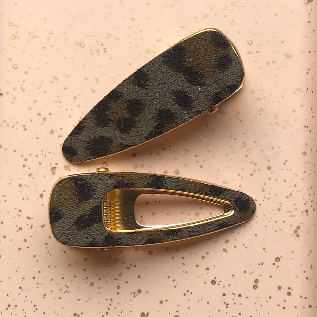 Grey Animal Print Hair Clips 2pk