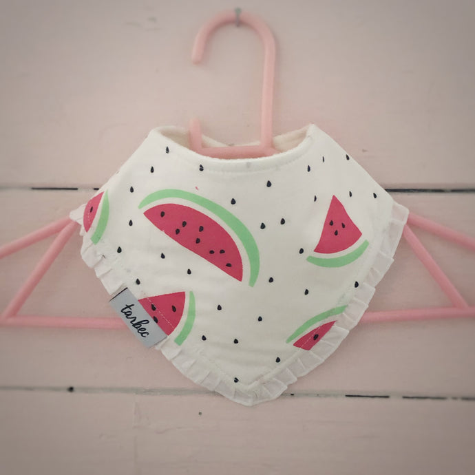Watermelon White Dribble Bib Frills