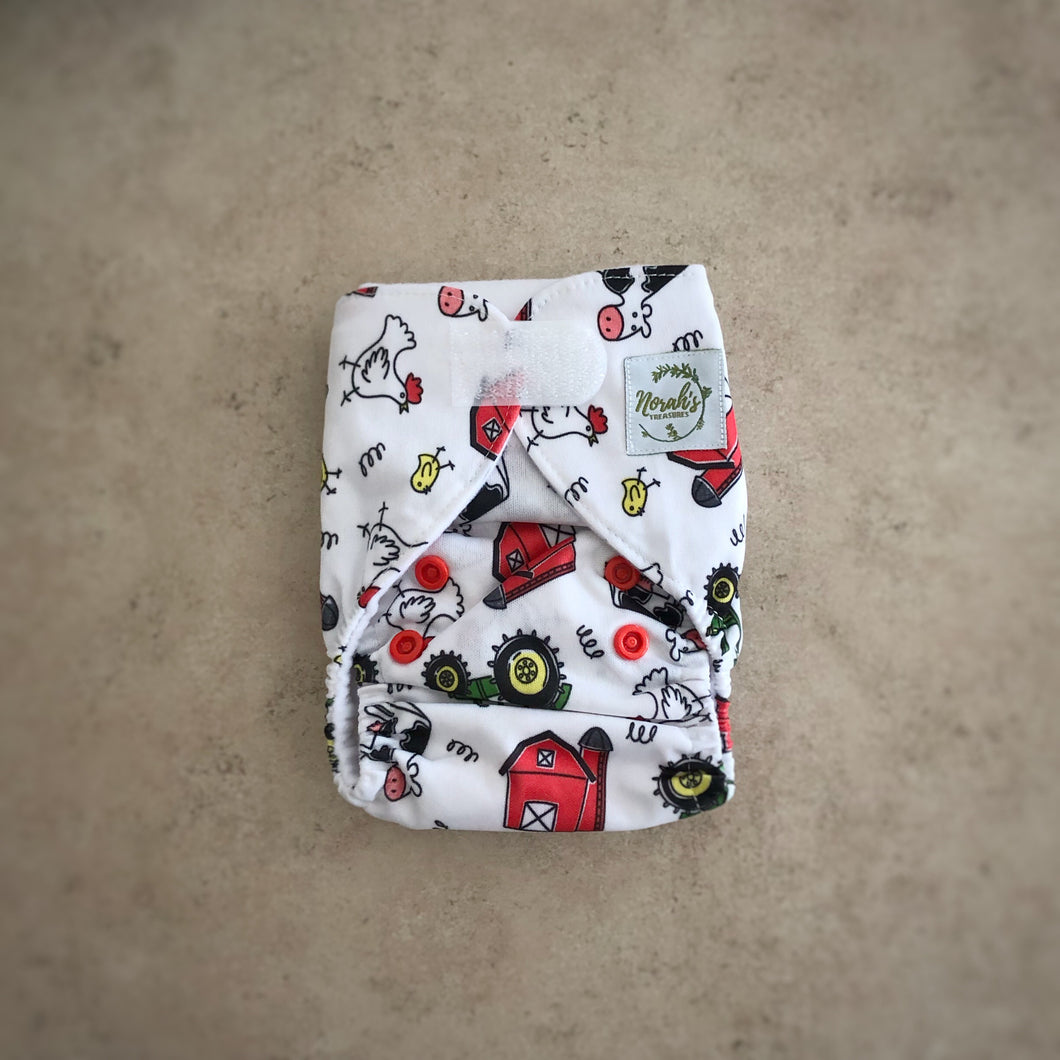 Newborn Pocket Nappy - Farm