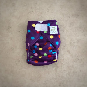 Newborn Pocket Nappy - Purple Polka Dot