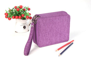 81 Holes 4 Layer Portable Canvas Pencils Case