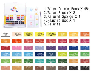 18/24/36/48 Colors Pigment Solid Watercolor Paints Set