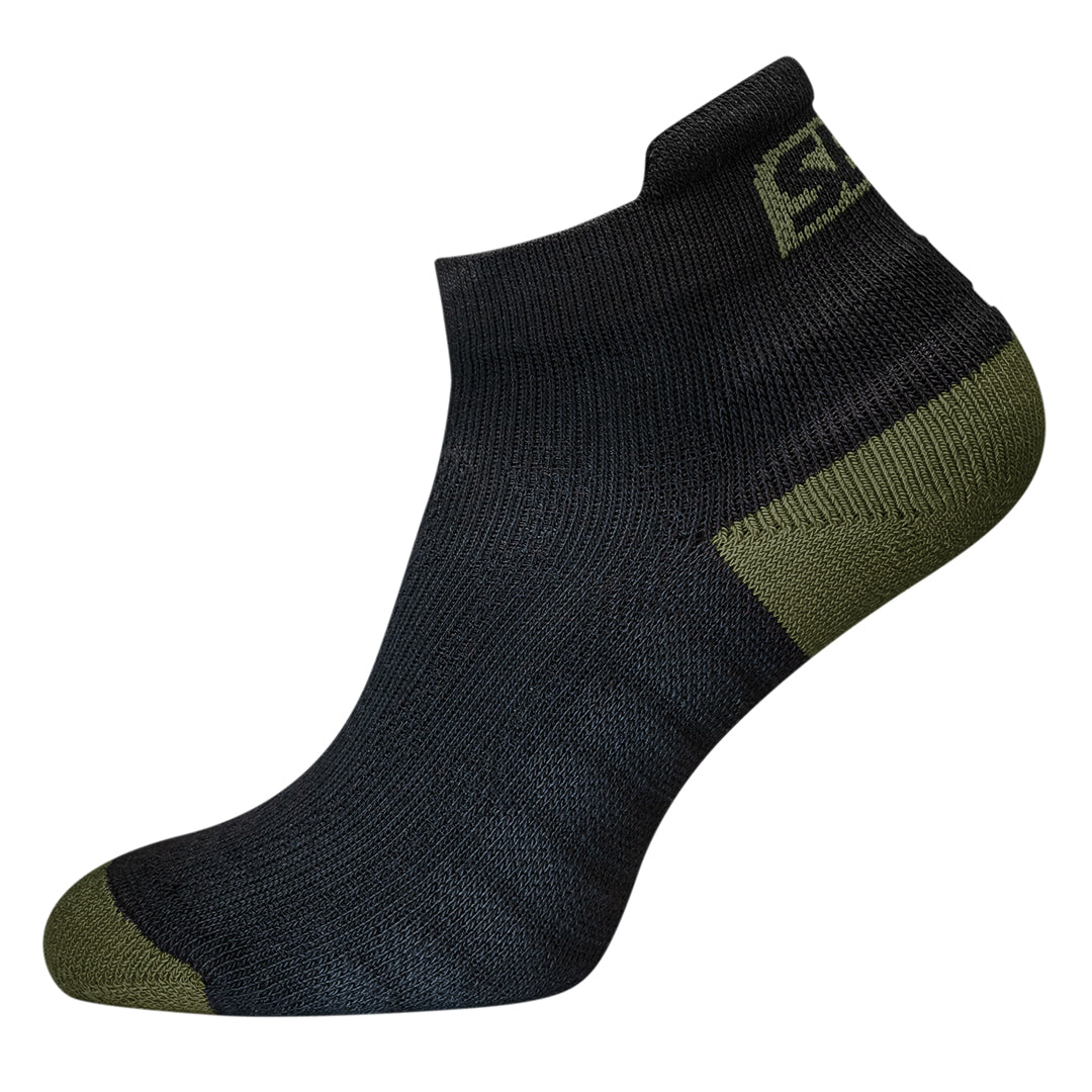 Trainer Socks - Black w/Green - Endure Range