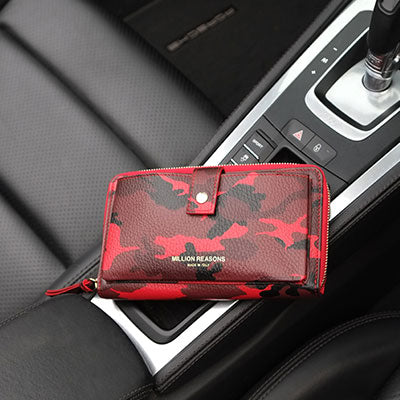 Leather Travel Wallet-Red Camo
