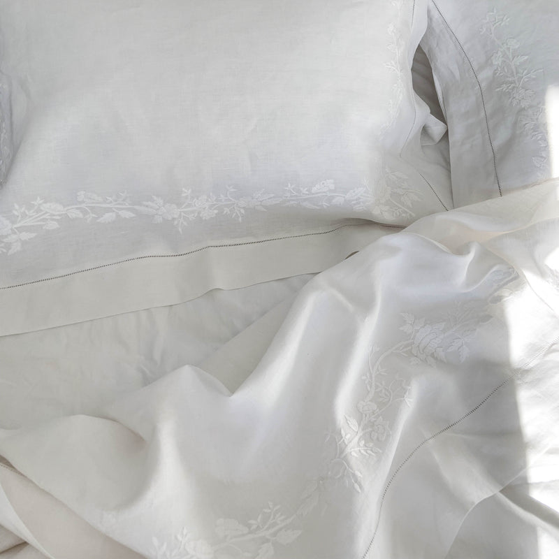 TUSCAN ROSE LINEN SHEETS TOP SHEET