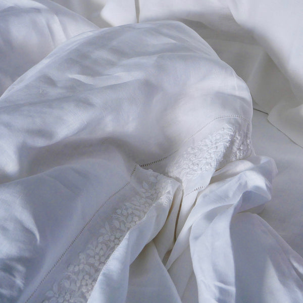 FRENCH COUNTRY LINEN DUVET COVER SET - WHITE
