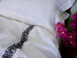 FRENCH COUNTRY LINEN - WHITE with BLACK - DUVET SET