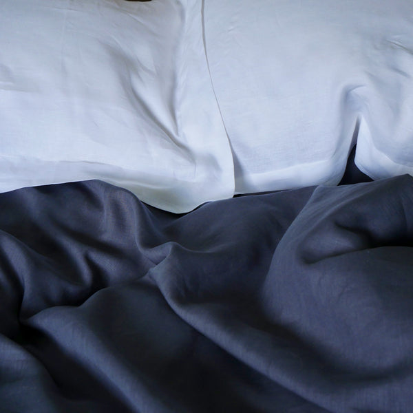 PLAIN 100%  LINEN  - DUVET SET - CHARCOAL