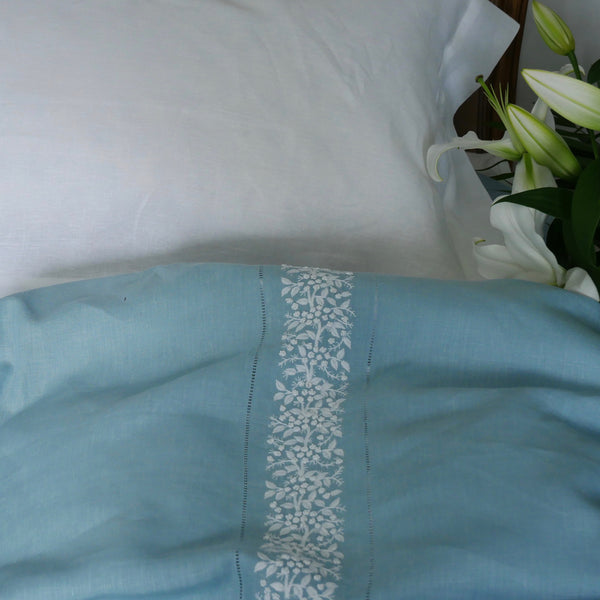 FRENCH COUNTRY LINEN TOP SHEET SET - DUCK EGG