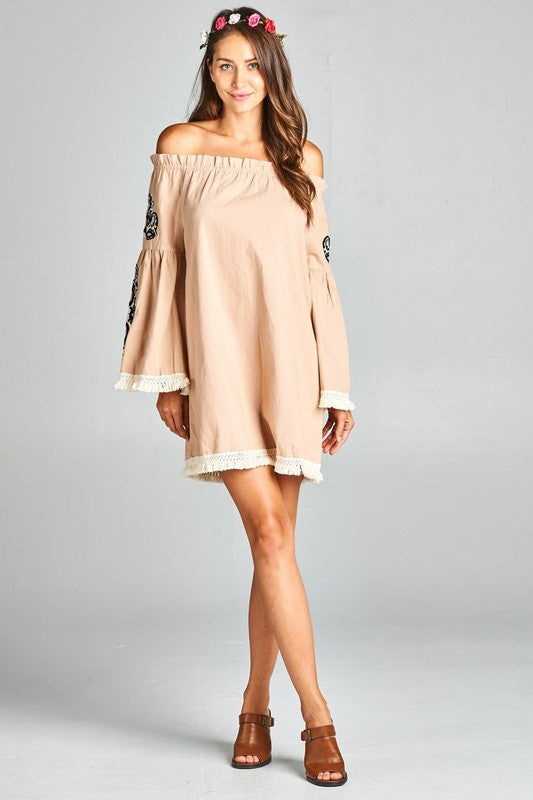 8c5ea05de The Grace Embroidered Bell Sleeve Dress – The 3 Sisters Boutique