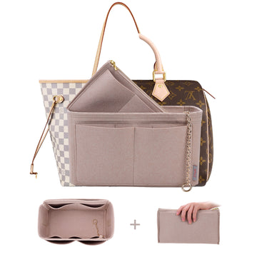 High End Purse Organizer insert, Bag Organizer with YKK zipper,Fit LV Speedy, Neverfull,Tote.5 Size