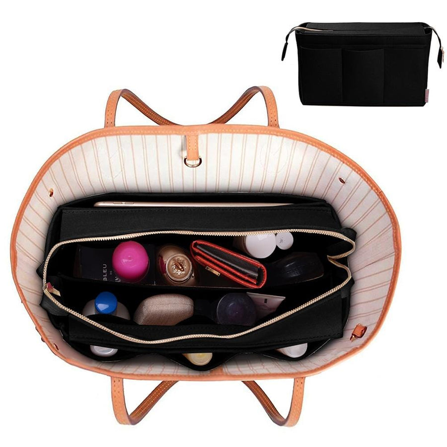 ZTUJO Purse Organizer Insert,Felt Bag Organizer with NEW Detachable Zipper cover, fits LV, Goyard St Lious, Tote and handbag shaper