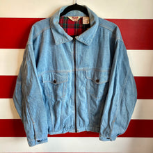 80s Duke Brand Plaid Lined Denim Jacket