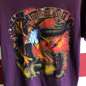 1992 American Biker Eagle Dragon 3D Emblem Made in USA Shirt