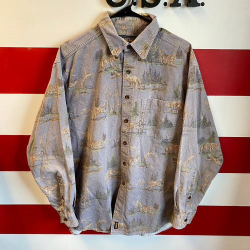 Early 2000s Woolrich Wolf Print Corduroy Button Up