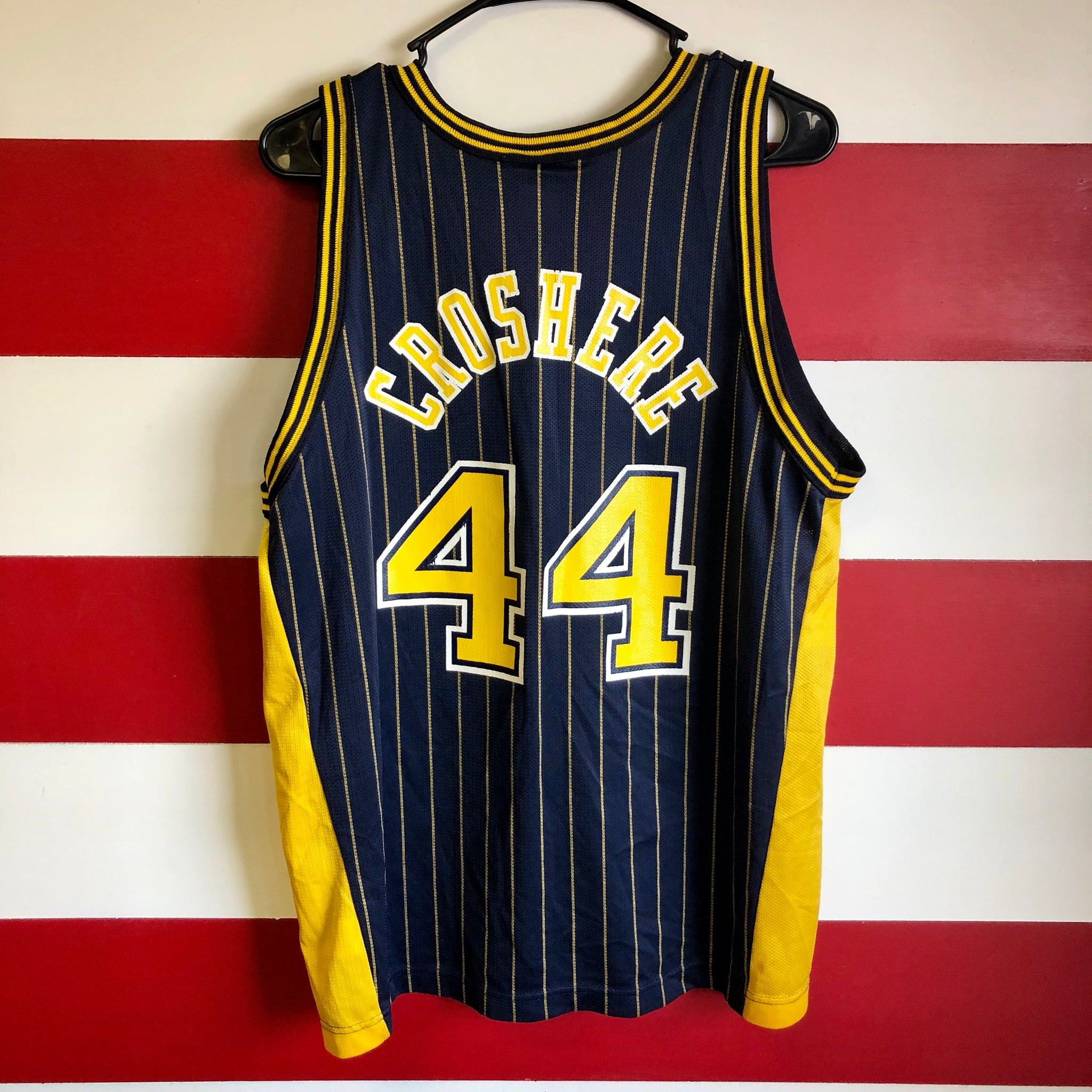 san francisco 47842 d5f4c 90s Indiana Pacers Austin Croshere Champion Pinstripe Jersey ...