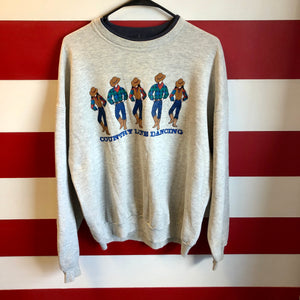 90s Country Line Dancing Double Sided Graphic Double Collar Crewneck Sweatshirt