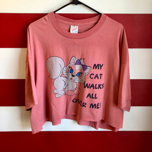 90s My Cat Walks All Over Me Cropped Shirt