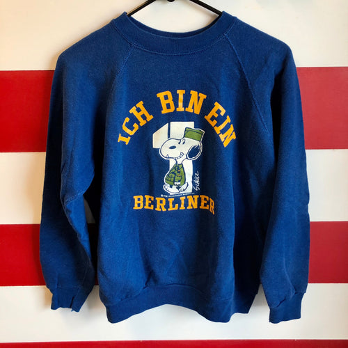 70s Snoopy Ich Bin Ein Berliner Kennedy Speech Artex Sweatshirt