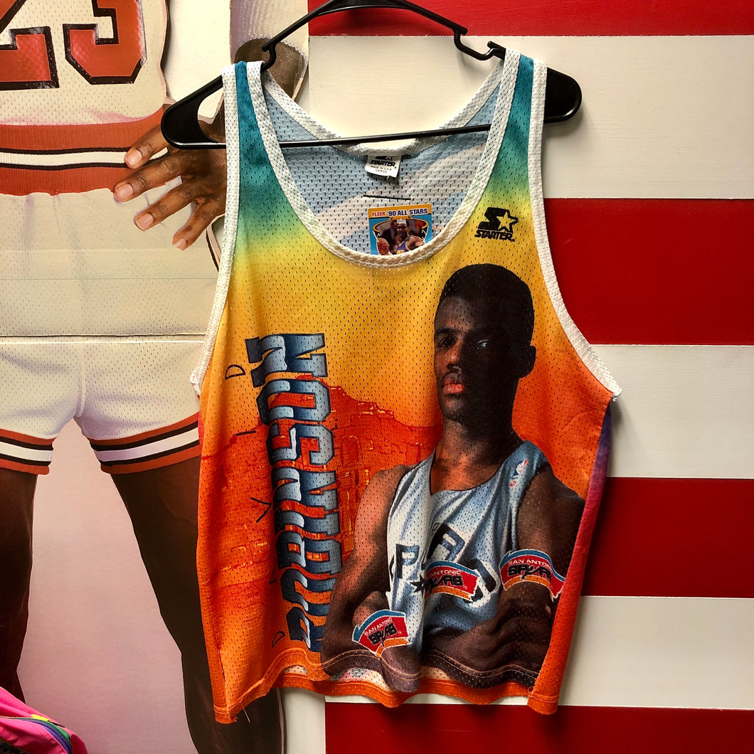 90s David Robinson Graphic Spurs Hot Starter Mesh Tank Jersey