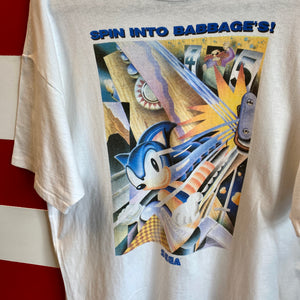 90s Sonic The Hedgehog 'Spin Into Babbage's!' Sega Video Game Promo Shirt