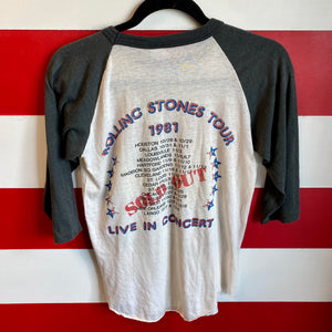 1981 The Rolling Stones Tour Sold Out 'Live In Concert' Stadium Dragon Raglan Shirt
