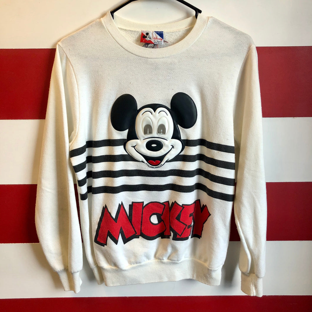80s Mickey Mouse Holographic Eye Raised Graphic Spellout Sweatshirt