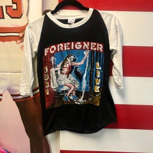 1981 Foreigner Live American Tour Original Fan Made Bootleg Raglan Shirt