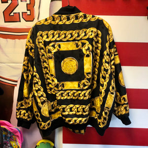 80s Chanel Style Chain Print Silk Bomber Jacket