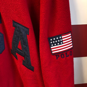 1992 Polo Ralph Lauren USA Flag Patch Hooded 1/4 Zip Fleece