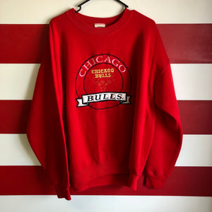 90s Chicago Bulls Embroidered Spellout Nutmeg Mills Crewneck Sweatshirt