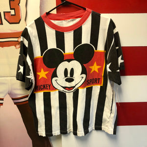 90s Mickey Sport Vertical Stripe Graphic Shirt