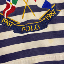 1987 Polo Ralph Lauren Cross Flags Original Made in Hong Kong Striped Hoodie Sweatshirt