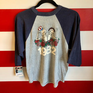 1982 Grateful Dead US Tour Golden Gate Bridge Uncle Sam Skeletons Raglan Shirt