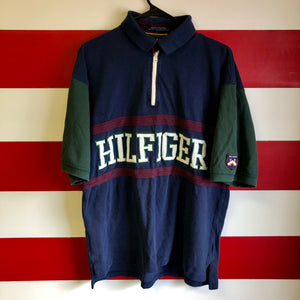 90s Tommy Hilfiger Stitched Spellout 1/4 Zip Polo Shirt