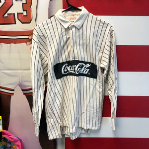 80s Coca Cola Box Logo Spellout Pinstripe 1/4 Button Rugby Shirt