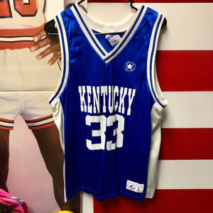 90s University is Kentucky Wildcats #33 Spellout Converse Basketball Jersey