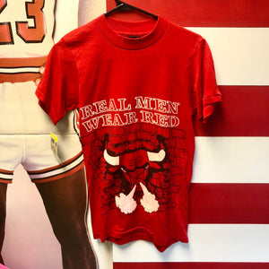 90s Chicago Bulls 'Real Men Wear Red' Brick Wall Puff Print Shirt