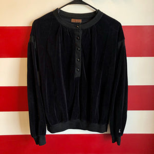 80s Yves Saint Laurent Velour 1/4 Button Sweatshirt