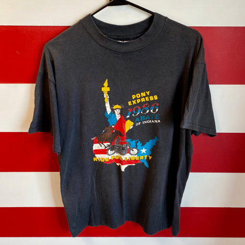 1986 Abate of Indiana 'Ride For Liberty' Biker Shirt