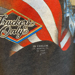 1988 Truckers Only The American Way 3D Emblem Shirt