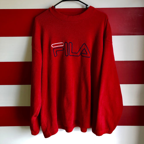 90s FILA Spellout Fleece V Neck Sweatshirt