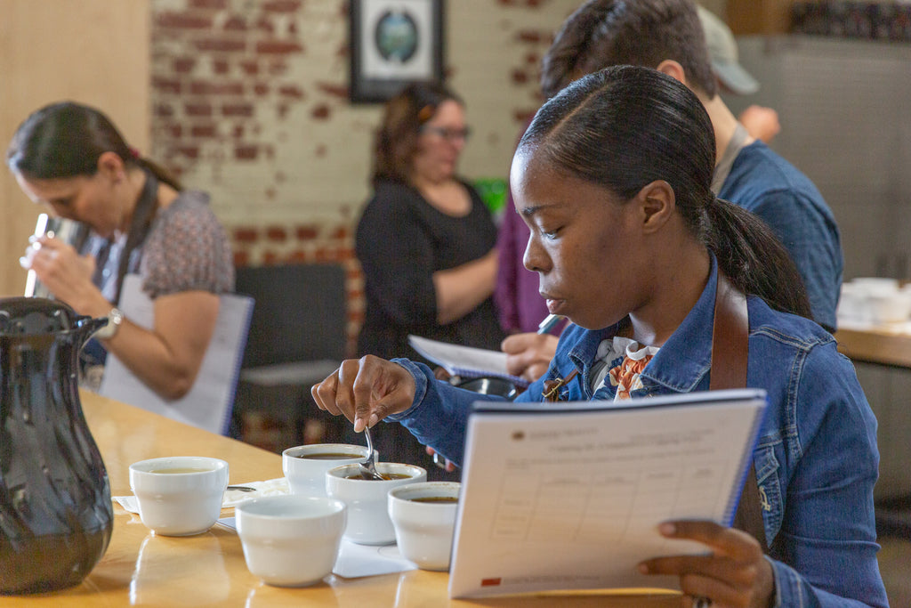 People Assessing Coffees During a Q Processing Course