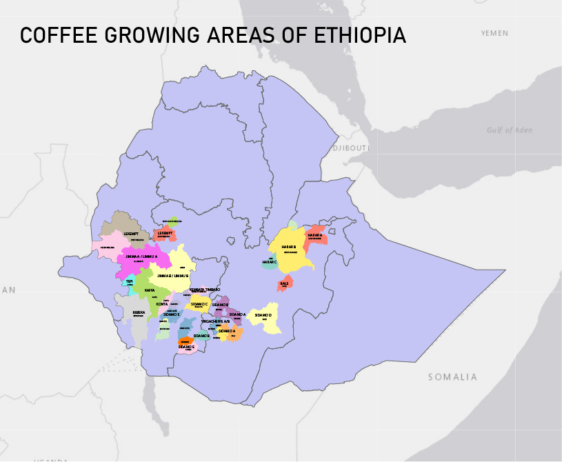 Map of the Ethiopia Commodity Exchange's growing areas in Ethiopia