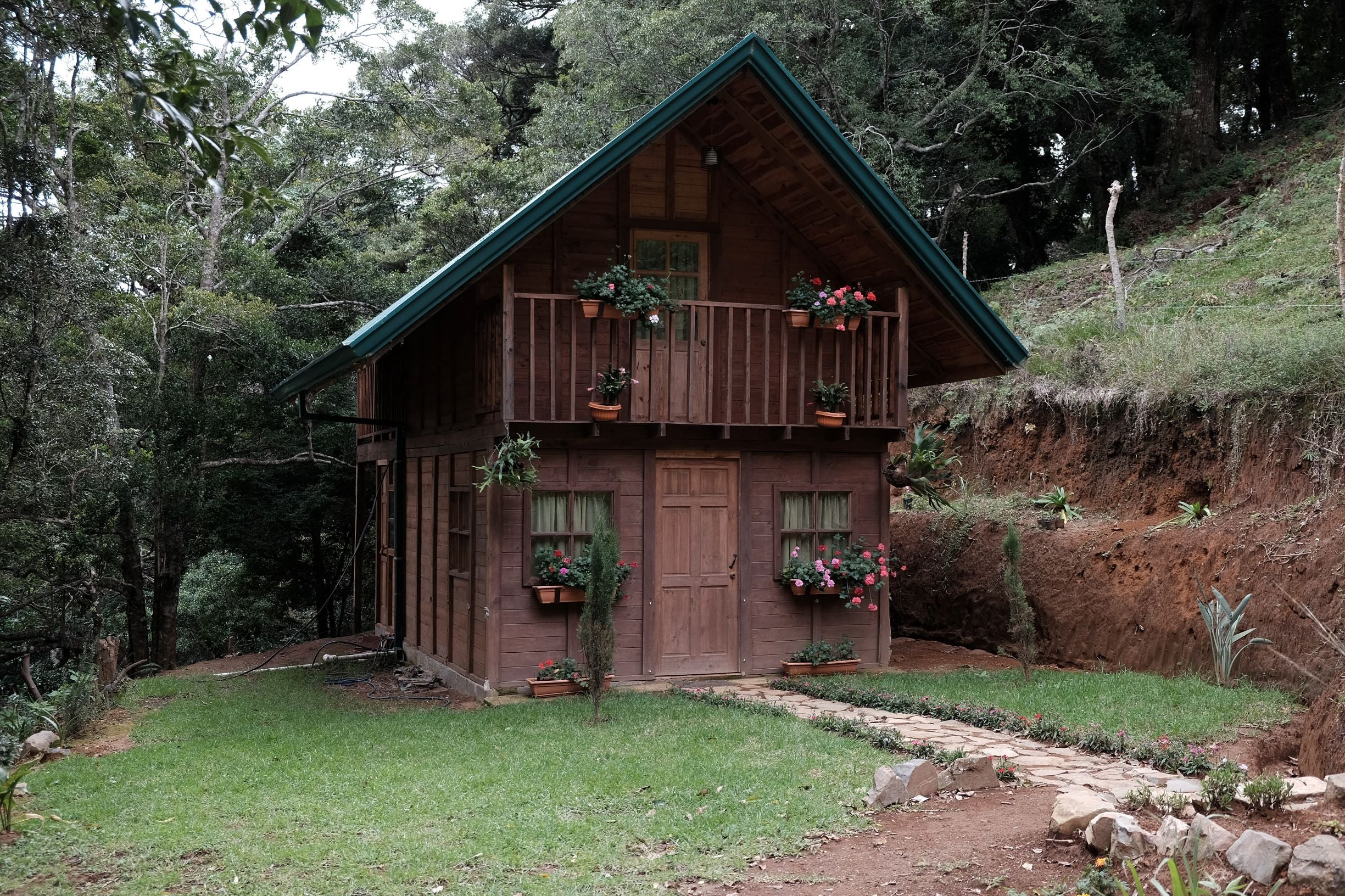 Mountain house on coffee farm in Costa Rica forest