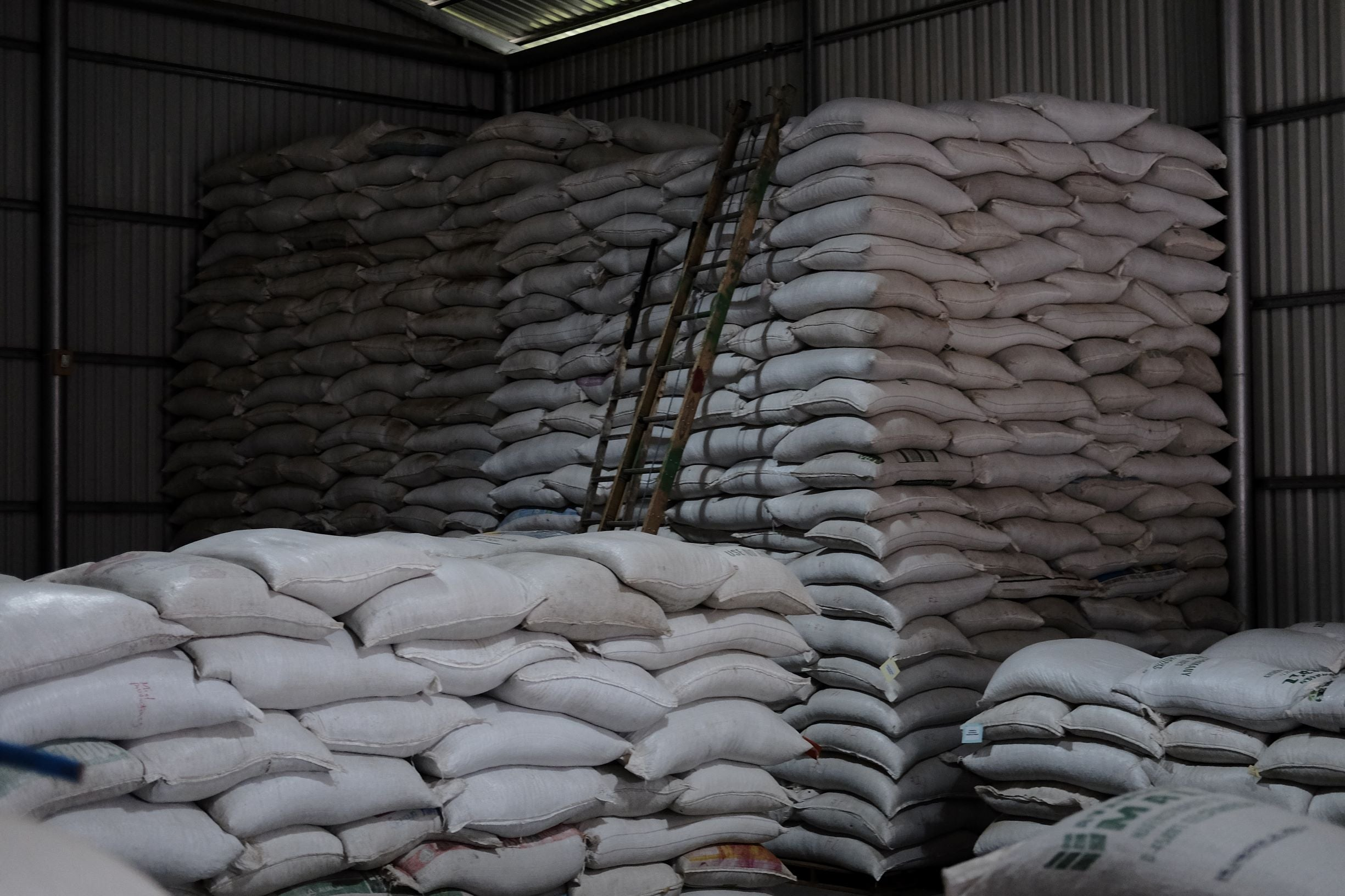 Coffee sacks in the warehouse
