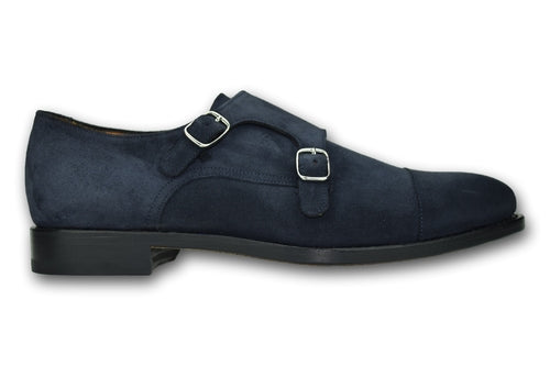 Double Monks Straps- Blue Slate Suede