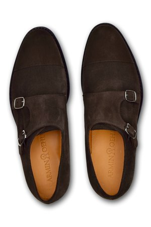 Double Monks Straps- Brown Suede