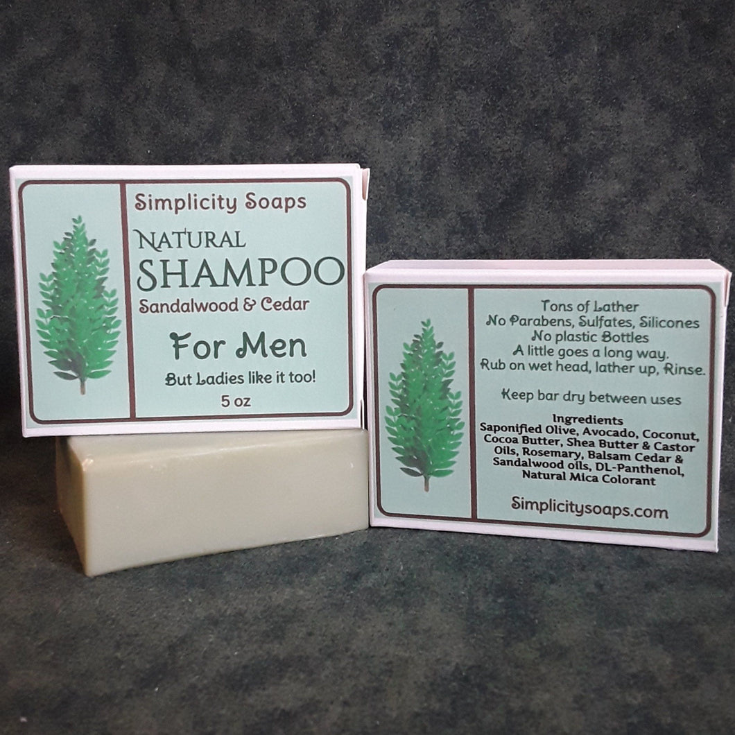 Shampoo bar for Men - Sandalwood & Cedar, Natural shampoo bar. solid shampoo bar