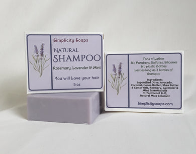Natural Shampoo Bar, Simplicity Soaps, Rosemary, Lavender Shampoo Bar